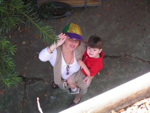 Mack, just over 2 years old, with Momma at Mardi Gras in NOLA.